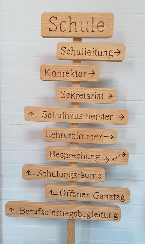 Wegweiser in der Dominikus Savio Schule Pfaffendorf